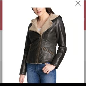 Women's Levi's faux-leather hooded jacket Small